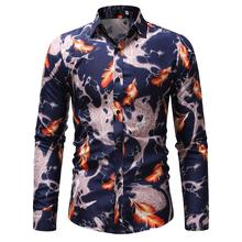 Hawaiian Shirt Men Floral Casual Slim Fit Long Sleeve Mens Flower Blouse New