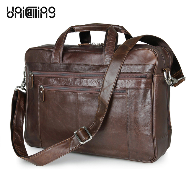 Unicalling Luxury Genuine Leather Large Men Bag Premium Cow Business Laptop 17