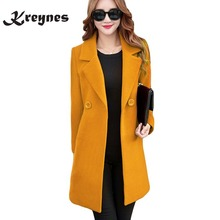 Plus Size 4XL Women Winter Jackets and Coats Double Breasted Elegant Warm Women Woolen Coat Long Ladies Pure Color Tops Coats