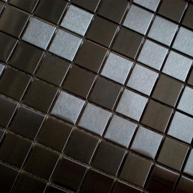 Color negro acero inoxidable metal mosaico azulejos cocina protector - Decoración del hogar