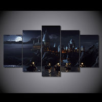 TBONTB 5 Piece Canvas Harry Potter School Castle Hogwarts Painting Room Decor Posters And Prints Art