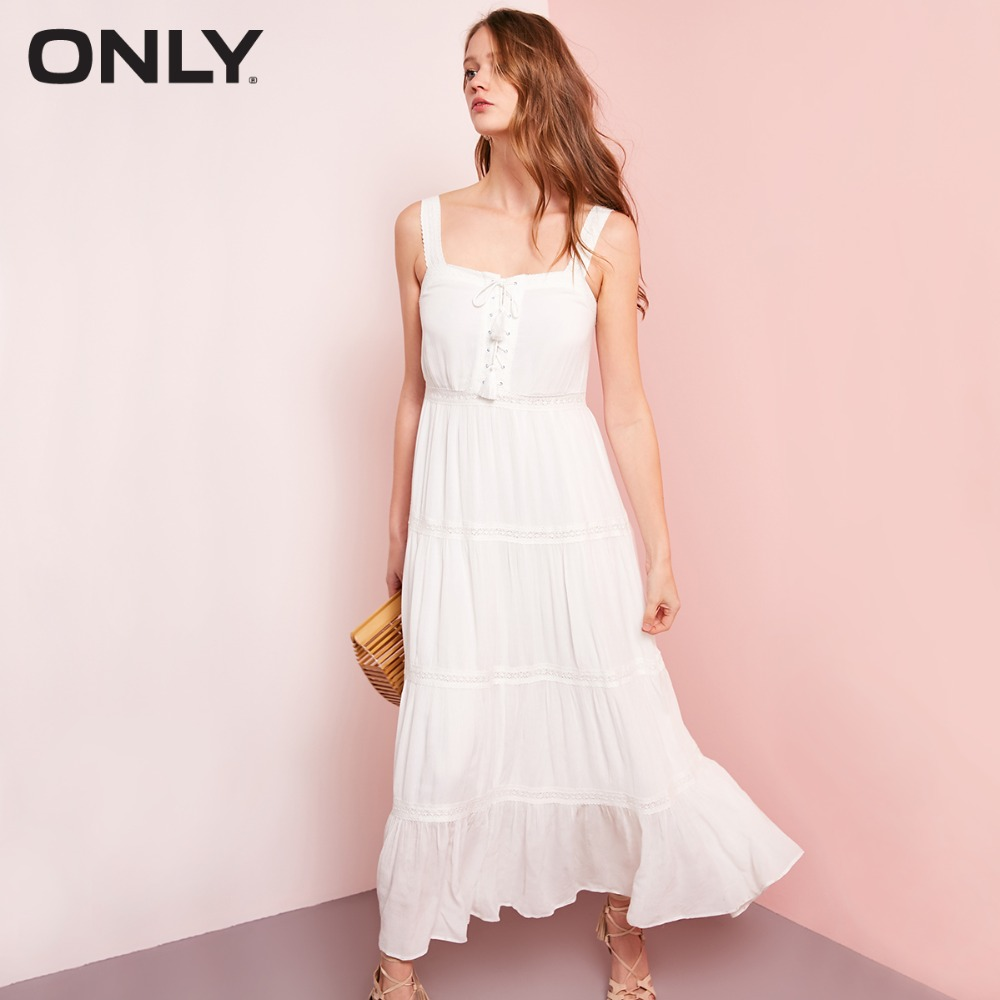ONLY Tie-up Crochet Pure Color Dress 118107684