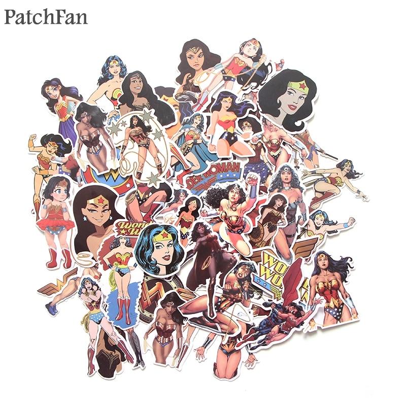 Patchfan 48pcs Wonder Woman 90s Art Print Home Decor Wall Notebook Phone Luggage Laptop Bicycle Scrapbooking Album Sticker A1380