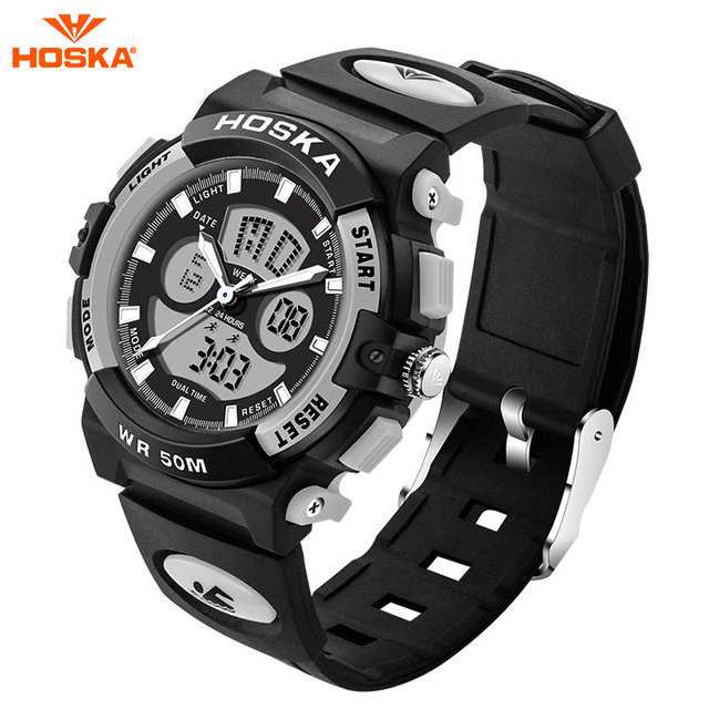 2017 New HOSKA Brand Men LED Digital Military Watches Children Fashion Sports Watch Dive Swim Outdoor Casual Wristwatches HD005