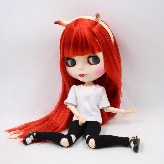 Blyth doll Combination Red Little Devil with matte face joint body,clothes,shoes,devil horn,hand set AB as gift 1/6 BJD 3