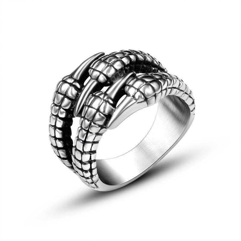 Personality retro ring titanium steel Dragon Claw shape domineering rings man punk style party jewelry mens rings