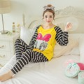 New Stripe Cartoon Lovely printed cotton blouse with pockets belly pants nursing clothes set maternity plus size pajamas