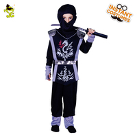 Kid S Black Hooded Ninja Costume With Gray Dragon Print Assassin Cosplay Fancy Suit For Halloween