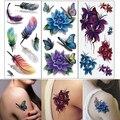 2 Pcs 3D Body Art DIY Stickers Temporary Tattoo Butterfly Flower Feather Sticker