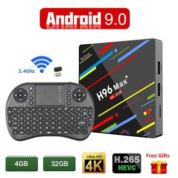 2019 Smart ТВ Box Android 9,0 4 GB 32 GB Rockchip RK3328 1080 P H.265 4 K Netflix Youtube Wi-Fi Android ТВ Декодер каналов кабельного телевидения H96 MAX плюс +