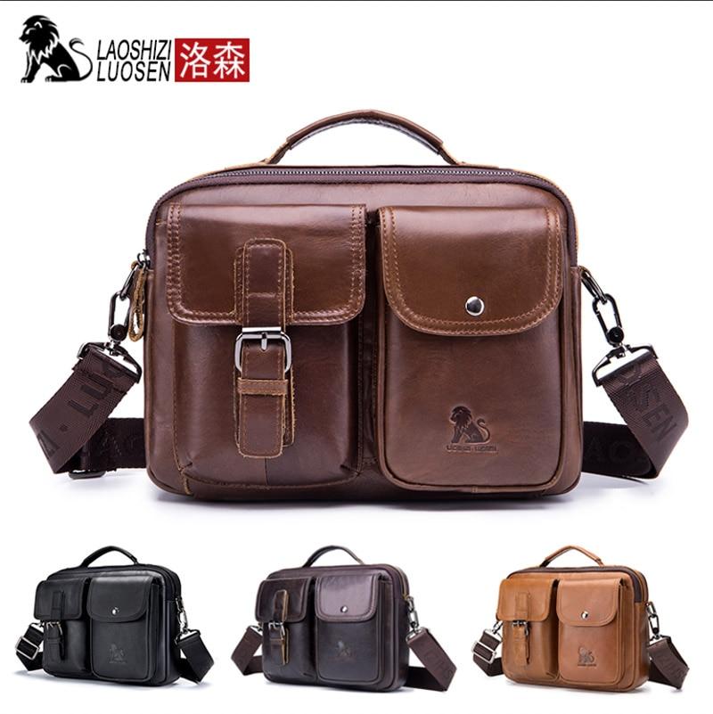 Trendmarkierung Laoshizi Luosen 2018 Mode Kuh Echtes Leder Computer Business Angelegenheiten Handtasche Große Kapazität Dual-use-umhängetasche Für Männer Aktentaschen