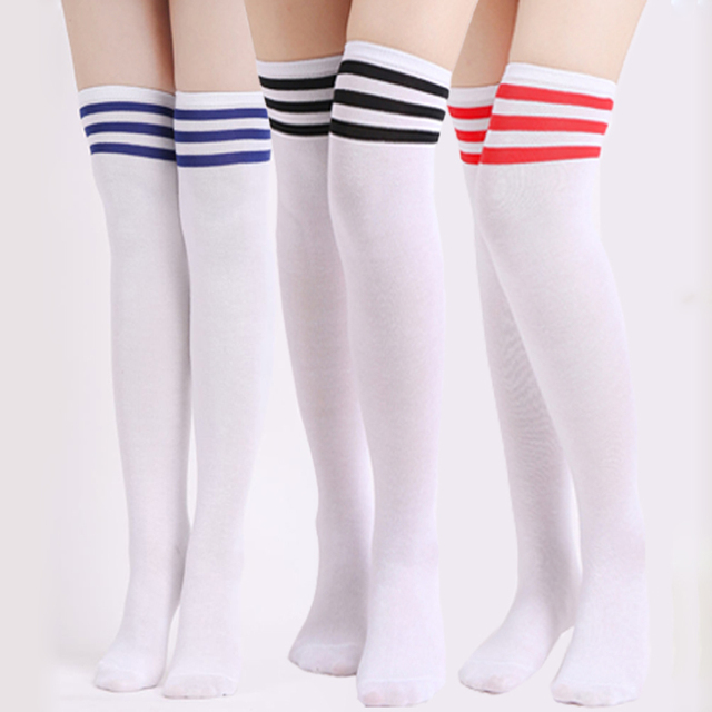dbd918328 1Pair Fashion Striped Over Knee Socks Women Thigh High Over The Knee  Stockings For Ladies Girls Warm Long Stocking Sexy Medias