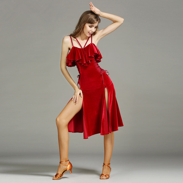 6a436972626 New Sexy Black Wine red Velvet Latin Dance Dress