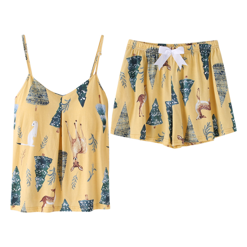 BZEL New Yellow Cotton   Pajamas     Set   Flora And Animal Cartoon Pattern Pyjamas Summer V-neck Comfortable Big Size Sling Suit M-XXXL
