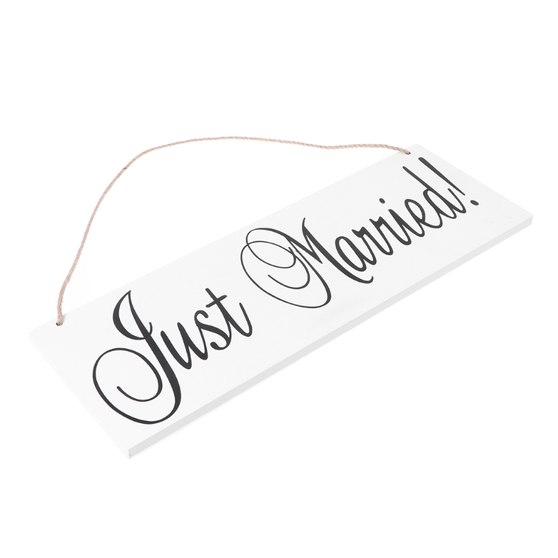 Just Married Wooden Hanging Signage Board Directional Signage Photo Prop Party Banner Board Weddings Receptian DIY Wedding Decor