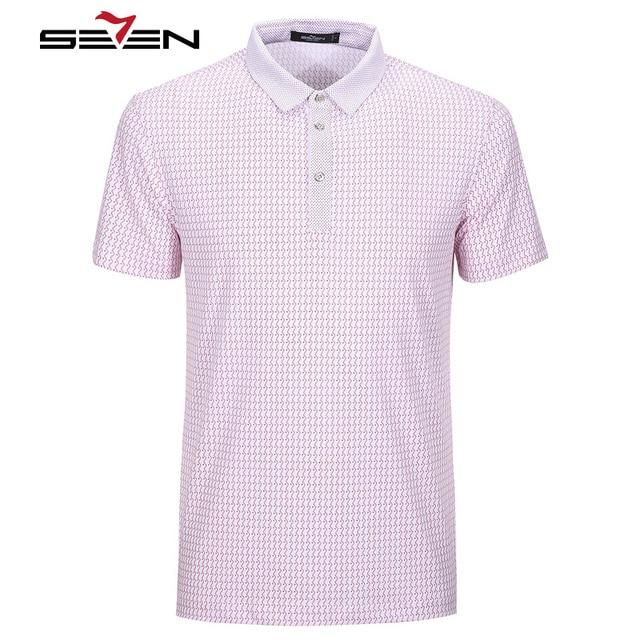 Seven7 hombres polo camisas slim fit de manga corta onda rayada de los puntos patter impreso polo camisas moda casual polo camisas 110t50320