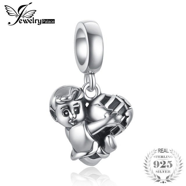 JewelryPalace 925 Sterling Silver Boy With Football Hug Love Charm For Women/Mothe/Daughter New Hot Sale Beautiful TrendyGifts