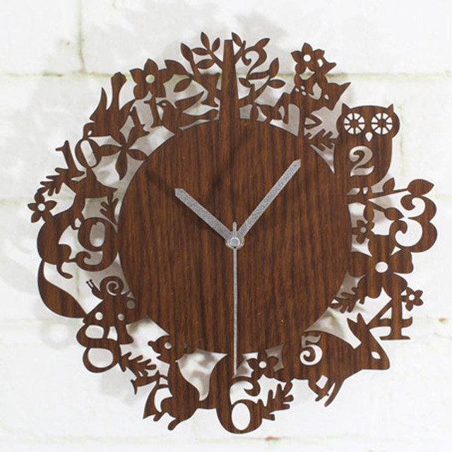 8bc98887a0ea0 Cute Cartoon Wooden Wall Clock Simple Modern Design Forest Animals Wood  Clocks Pastoral Style Bamboo Wall Watch Silent 12 inch