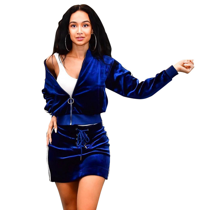 Blue Velvet Tracksuit Women Autumn Winter Two Piece Skirt Set Zipper Jacket Top and Mini Skirt Jogger Sportwear Leisure Suit