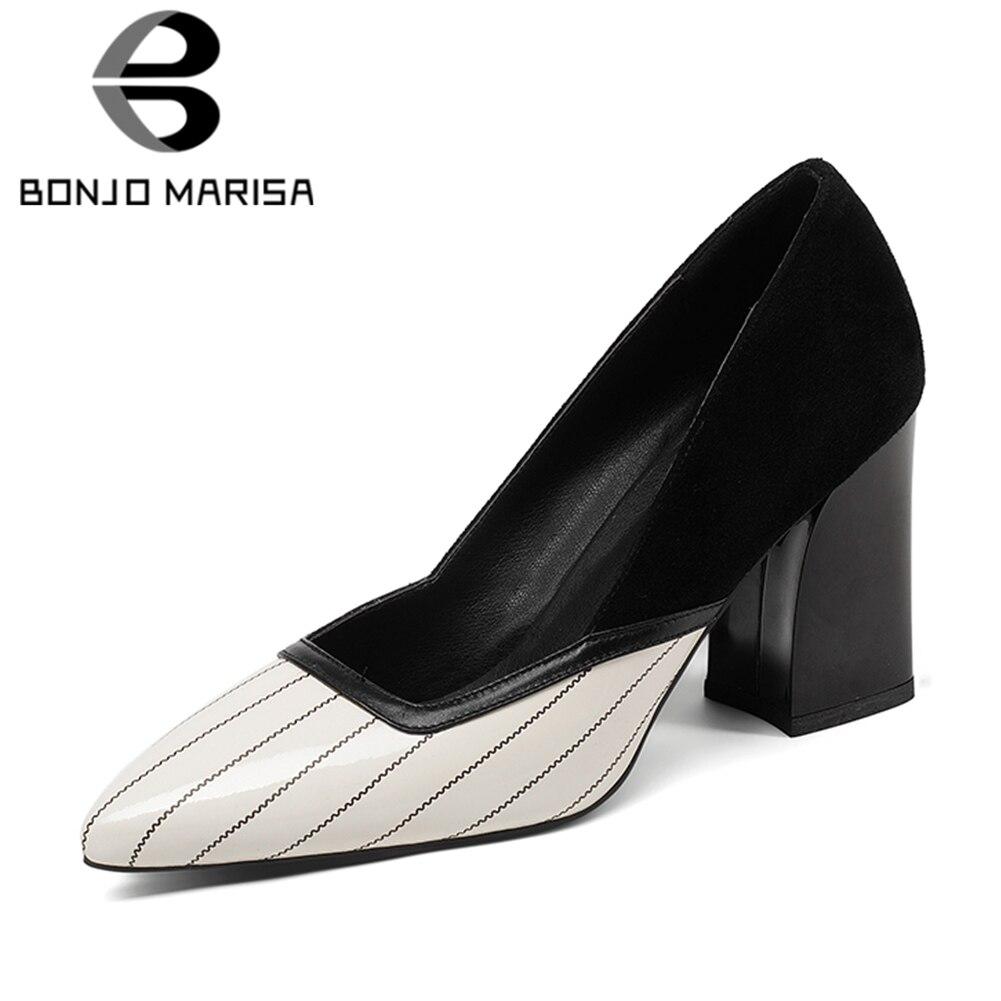 BONJNOMARISA 2019 prawdziwej skóry szpiczasty nosek poślizgu na damskie buty kobieta kwadratowe wysokie obcasy czerwony biurowe buty damskie rozmiar 34 39 w Buty damskie na słupku od Buty na  Grupa 1