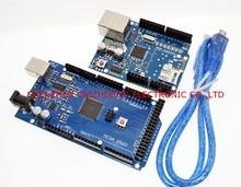 Ücretsiz kargo MEGA 2560 R3 ATmega2560 R3 AVR USB kartı + W5100 USB kablosu Arduino için 2560 MEGA2560 R3, biz üretici