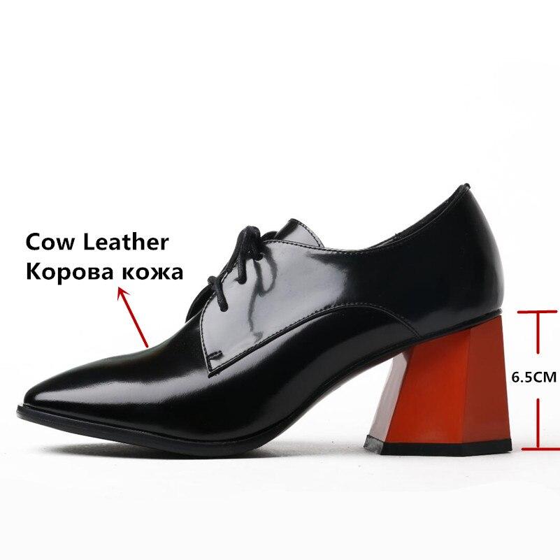 Marque Rétro Chaussures En Up Véritable Dentelle Bassic Martin 2 Bureau Carré Cuir Bout Femmes Conasco Femme Pompes Sexy Patchwork 1 TKJlF1c