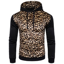 Men Leopard Coat Jacket Hoodie Long Sleeve Outwear Hoody Men