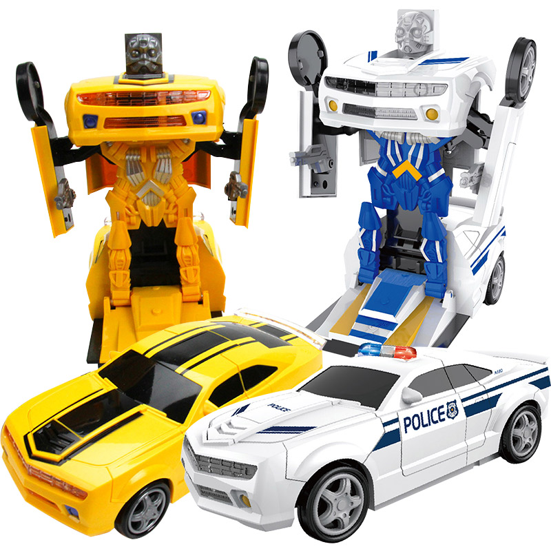 Technic 360 Degrees Transformation Robots Sports Vehicle Model Robots Lights Music Cool Car Bugatti Action Figure Toys For Kids