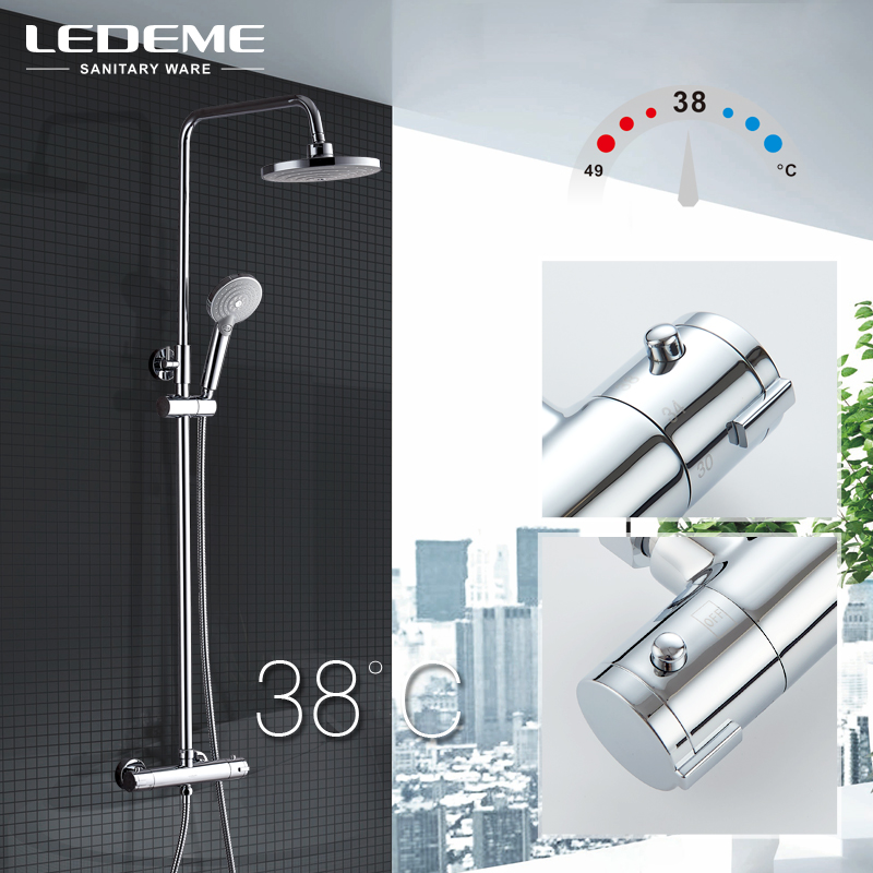 LEDEME Modern Bathroom Thermostatic Faucet Set Brass Bath Faucet Mixer Tap Waterfall Wall Shower Head Chrome