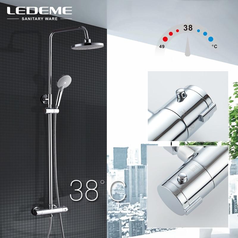 LEDEME Moderne Badezimmer Thermostat Wasserhahn Set Messing Bad Wasserhahn  Mischbatterie Wasserfall Wand Dusche Kopf Chrom Dusche Tap L2411