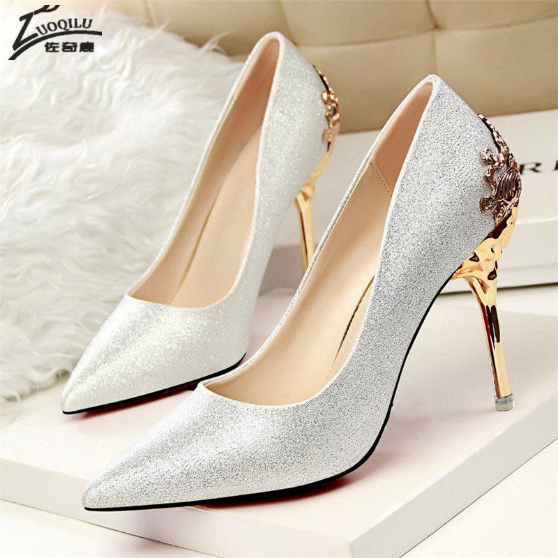 Sexy High Heels Shoes Woman Pumps Red Gold Silver High Heels Shoes Metal with Heels Luxury Ladies Wedding Party Shoes 2018 brand platform shoes woman high heels pumps sexy red silver women shoes 11cm high heels fashion wedding bridal shoes