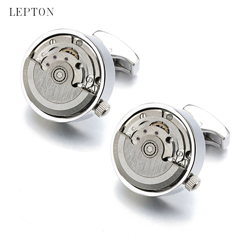 High quality Functional Watch Movement Cuff links Lepton Brand Stainless Steel Steampunk Gear Watch Mechanism Cufflinks