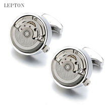 High quality Functional Watch Movement Cuff links Lepton Brand Stainless Steel Steampunk Gear Watch Mechanism Cufflinks for Mens