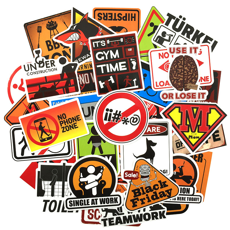 Image 4 - 50 pcs Warning Sign Sticker wallpaper Decal Motorcycle Fridge Skateboard Doodle Funny Stickers for Auto Laptop Trunk Car-in Stickers from Toys & Hobbies