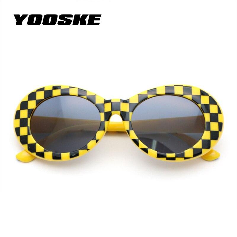 8cdeede5cabe3 Clout YOOSKE Óculos Óculos Óculos De Sol Dos Homens Do Vintage Retro  Mulheres NIRVANA Kurt Cobain Oval Óculos de Sol das Mulheres Óculos UV400