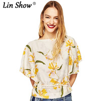 LINSHOW New Fashion Women Printed White Funny T Shirts Butterfly Sleeve O Neck Ladies Tops Work
