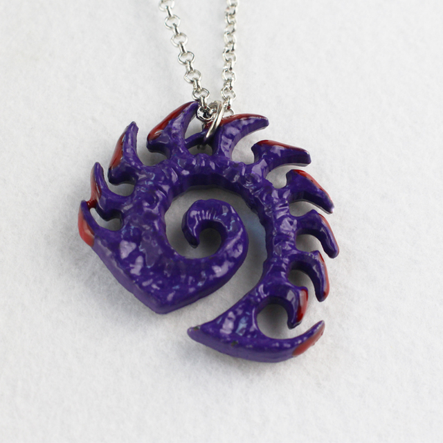 Starcraft necklace Zerg medallion Handmade epic pendant logo Sarah Kerrigan purple coated necklace good quality best gift 1