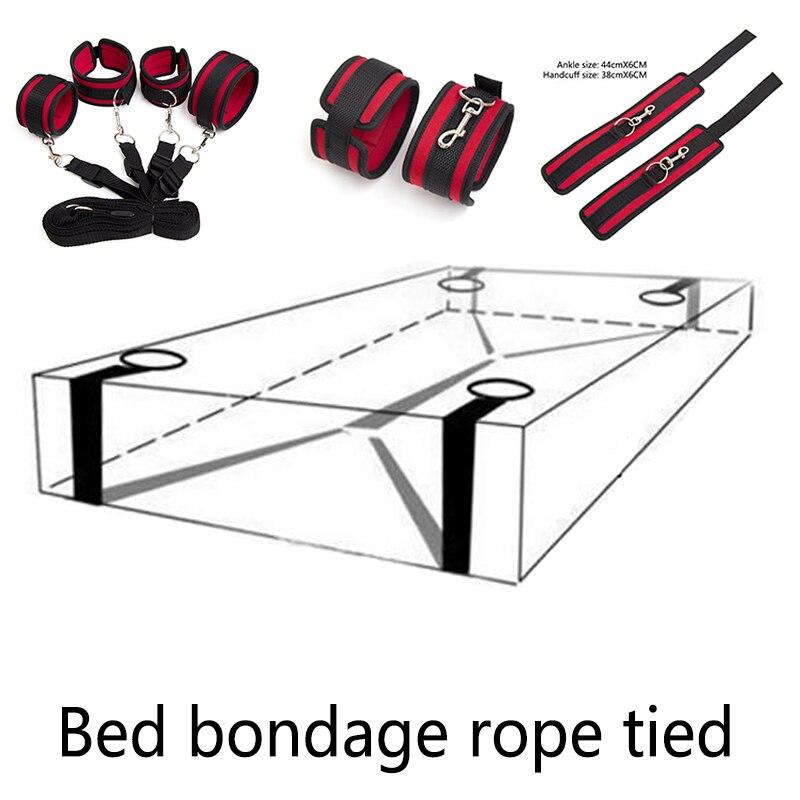 Bdsm Bondage Restraint Bed No Sistema Sm Amarrado Corda Do Brinquedo Do Sexo Para Homens E Mulheres Centavos Adulto Butt Plug Com parte inferior Do Corpo Anal Plugue Sexo