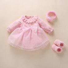 תינוקת שמלת vestidos הטבלה 2019 קשת תחרה לבן תינוק טבילת שמלת חדש נולד תינוקת בגדי חתונה סט 0 3 6 חודש
