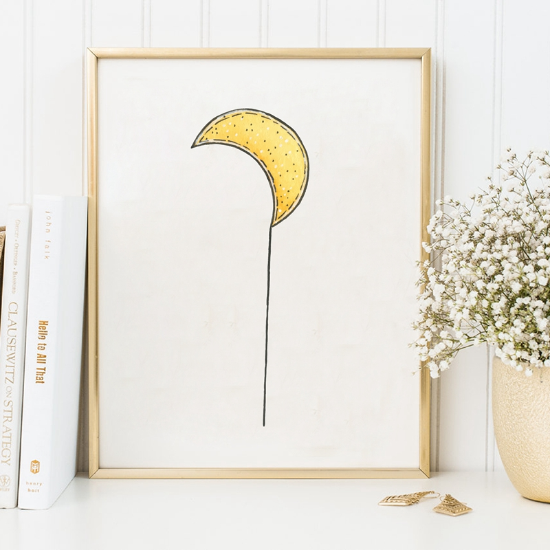 Hand-Drawn-Moon-Art-Print-Wall-Pictures-Watercolor-Moon-Canvas-Art-Painting-Poster-Baby-Room-Cartoon