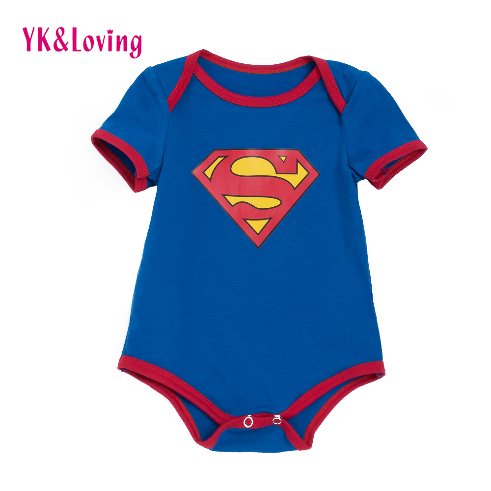 Superhero Infant Boys Girls Rompers Clothes Baby Costumes for Birthday Gift Newborn Short Sleeve Blue Jumpsuit for 0-2year R119S
