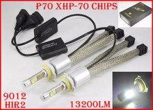 1 Set 9012 HIR2 110W 13200LM P70 LED Headlight XHP-70 4LED Chip Fanless Super Bright Slim Conversion Kit Driving Fog 5000K 6000K