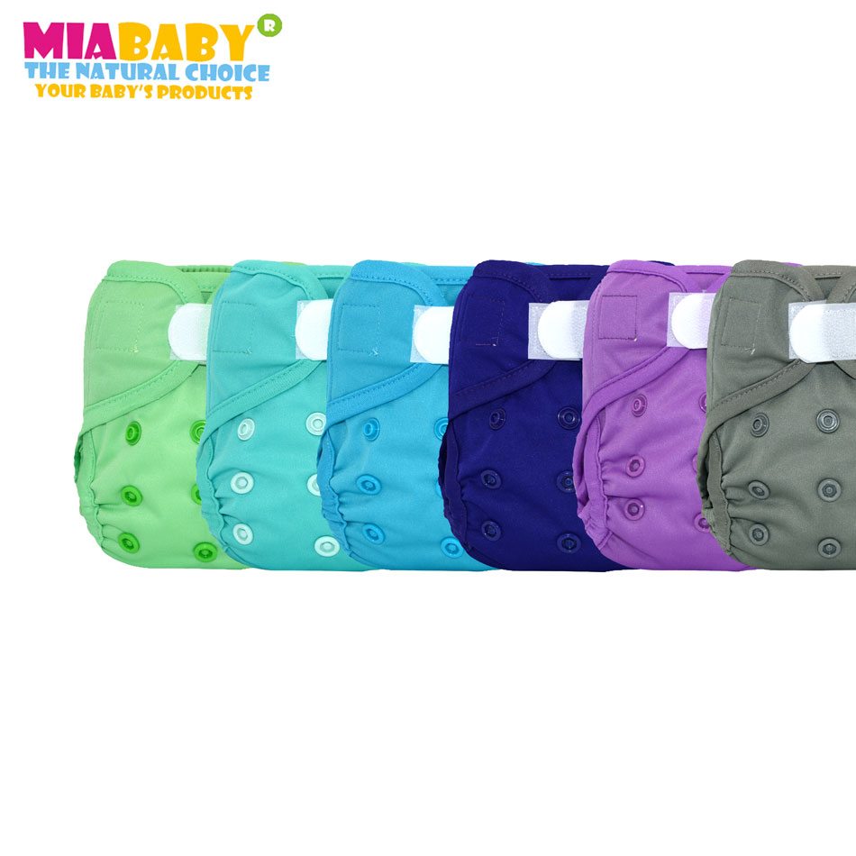 Miababy(6pcs/lot) Newborn  Cloth Diaper Cover, Fit Baby Girl Boy3-5k'g, With Double Leaking Guards,easy To Wear And Wash