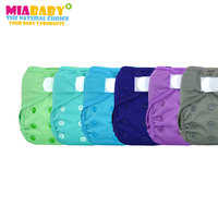 Miababy(6pcs/lot) Newborn Cloth Diaper Cover, Fit Baby Girl Boy3 5k'g, with double leaking guards,easy to wear and wash