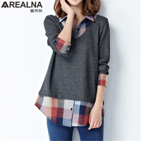Spring Kimono Fake Two Blouse Women Tops Fashion Loose Blouses Plaid Patchwork Long Sleeve Ladies Office