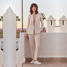 цена Light Pink 2 piece set womens business suit Female trouser suits wedding formal pant suits formal office suits work custom