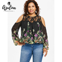 d2be0ed0b7219 AZULINA Plus Size Floral Lace Panel Women Blouse Autumn Casual O Neck Cold  Shoulder Long Sleeve