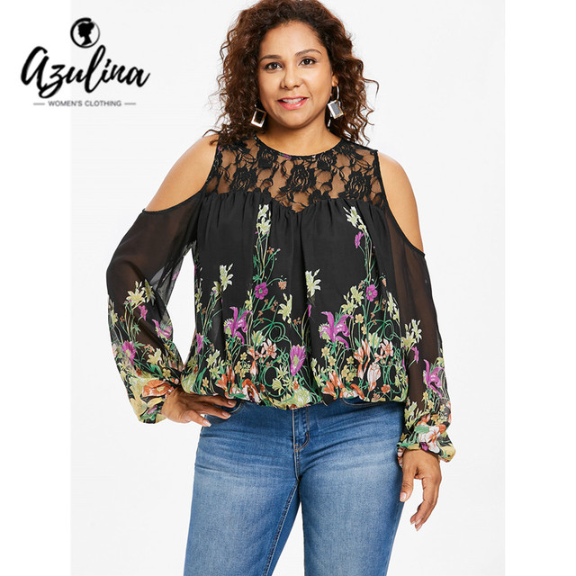 AZULINA Plus Size Floral Lace Panel Women Blouse Autumn Casual O Neck Cold Shoulder  Long Sleeve Blouses Big Size 5XL Ladies Tops 0b00056a3c9e