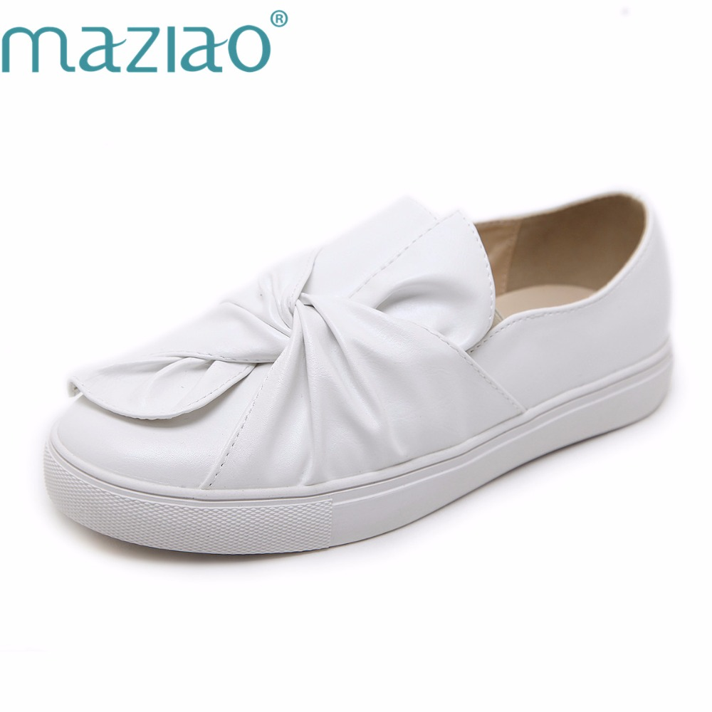 MAZIAO 2018 Fashion sweet bow Round toe women flat shoes ballet flats for ladies bowtie  comfortable slip-on loafers female uexia women winter warm fur plush loafers fashion round toe slip on ladies casual flats shoes women s bow tie ladies footwear