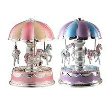 Carousel Music Box LED Light Merry-Go-Round Music Box Christmas Birthday Gift Toy Carousel Random Color